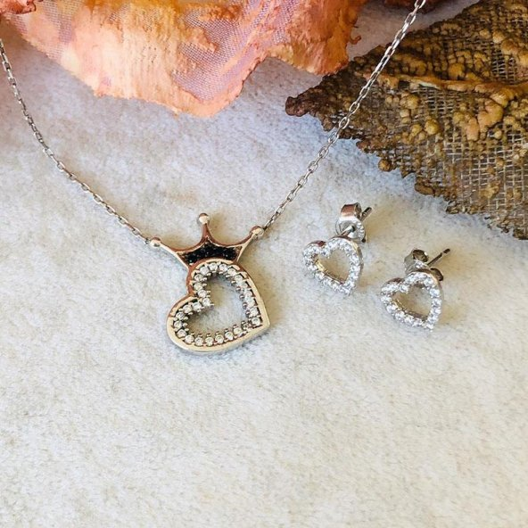 925 Ayar Gümüş Kraliçe Taç Kolye ve Kalp Küpe Kombin
