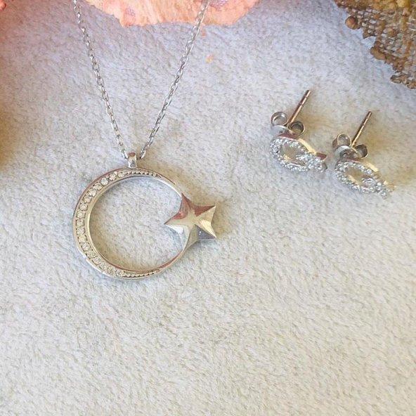925 Ayar Gümüş Ay Yıldız Kolye ve Küpe Kombin