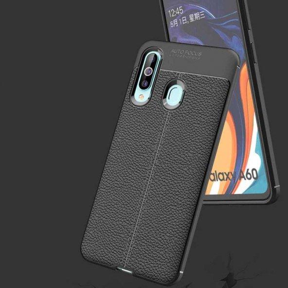 Samsung Galaxy A20S Kılıf Deri Görünümlü Silikon Zore