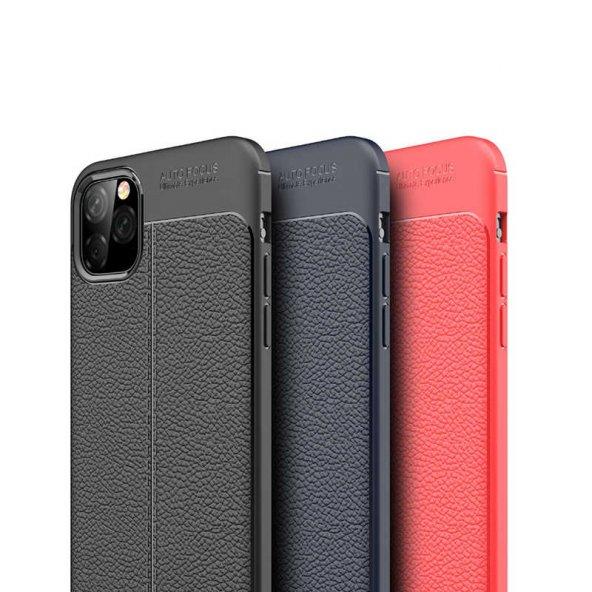 iPhone 11 Pro Max Kılıf Deri Görünümlü Silikon Kılıf Zore