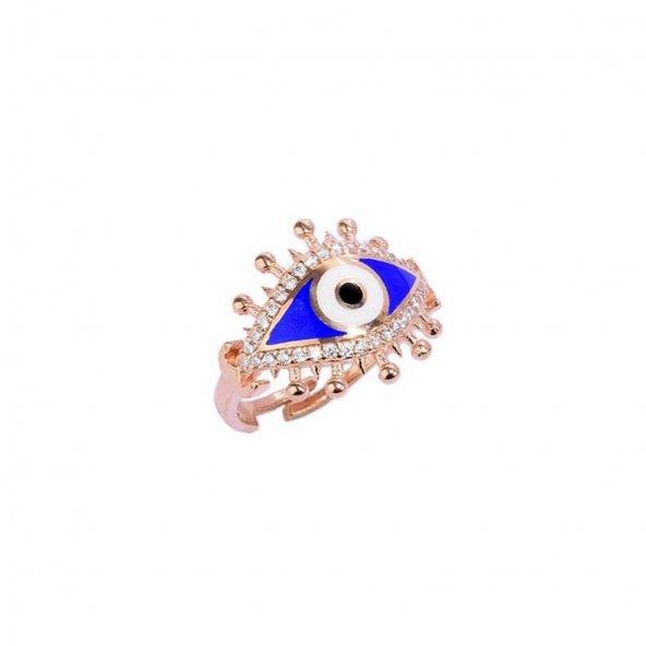 925 Ayar Gümüş Mavi Mineli Göz Tasarım Yüzük
