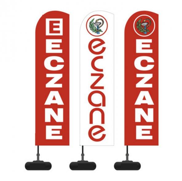 Reklam ediyoruz Yelken bayrak Eczane logolu  Bidon ve Direk dahil paket