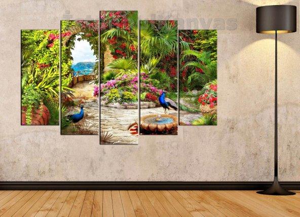 Çiçekli Bahçe ve Tavus Kuşları Manzaralı