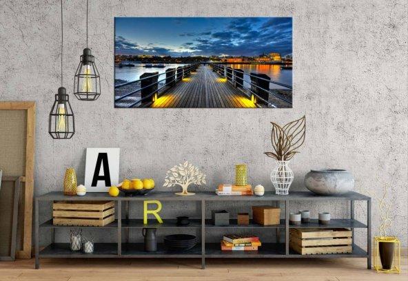 zz167 Işıklı İskele Gece Panoramik Kanvas Tablo