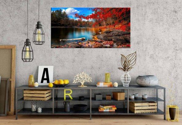 yn-66 Göl Ve Kırmızı Ağaçlar Dekoratif Manzara Panoramik Kanvas T