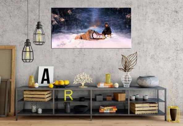 yn-21 İki Dost Karlı Gün Panoramik Kanvas Tablo