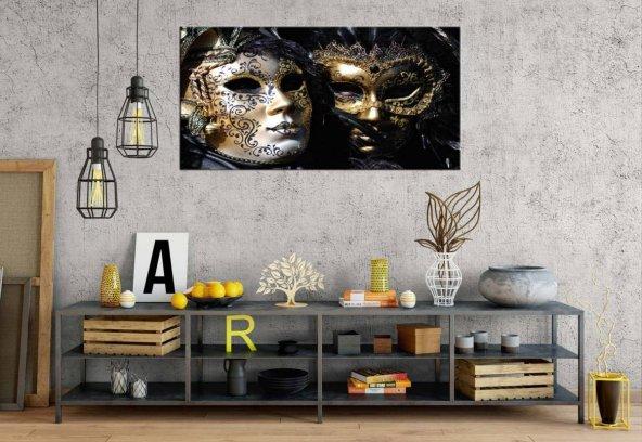 xa179 Venedik Maske Siyah Ve Beyaz Panoramik Kanvas Tablo