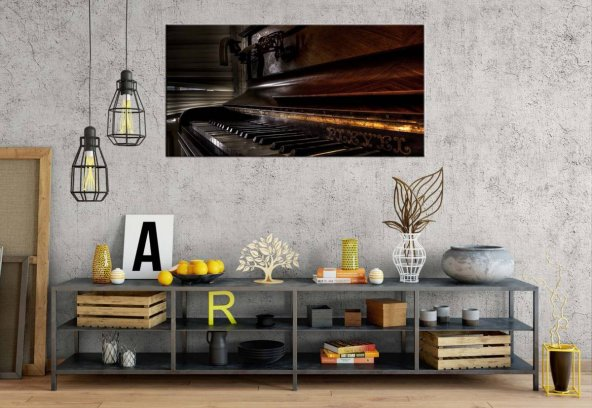 rpt110 Eski Klasik Piyano Panoramik Kanvas Tablo