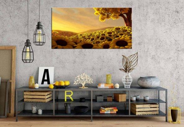 rpt118 Sarı Ayçiçekleri Panoramik Kanvas Tablo