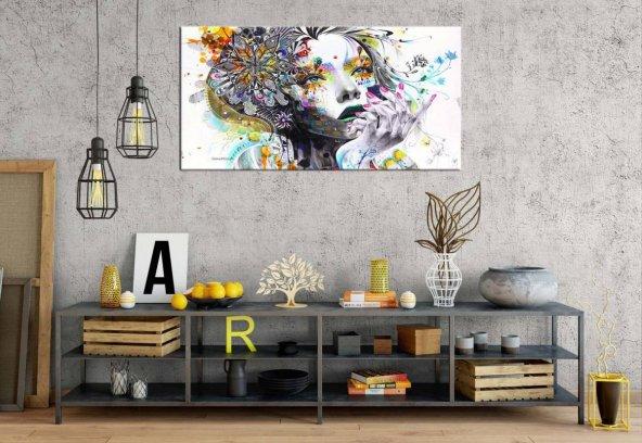 rpt10 Fantastik Renkler Kadın Panoramik Kanvas Tablo