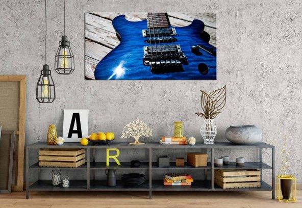 pl3 Mavi Elektro Gitar Panoramik Kanvas Tablo
