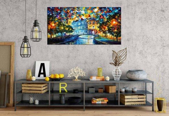 af22 Yağlı Boya Görünüm Kanalda Köprü Panoramik Kanvas Tablo