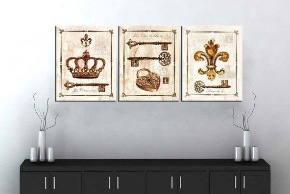 sn5 Retro Konsept Dekoratif Üç Parçalı Kanvas Tablo 50x105cm