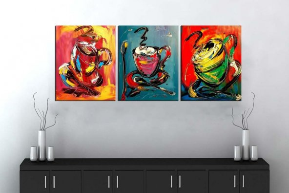 sn34 Retro Konsept Renkli Dekoratif Üç Parçalı Kanvas Tablo 50x10
