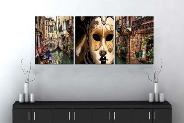 sn27 Retro Konsept Venedik Üç Parçalı Kanvas Tablo 50x105cm
