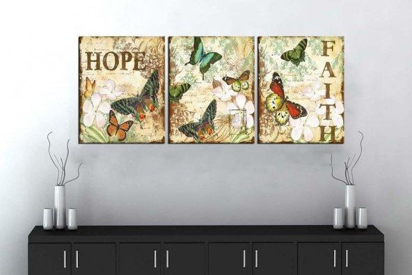 sn15 Retro Konsept Kelebekler Üç Parçalı Kanvas Tablo 50x105cm