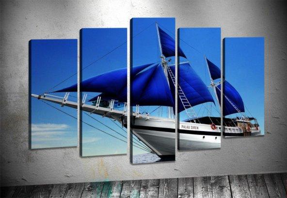 zz182 5 Parçalı Tablo Yelkenli Mavi