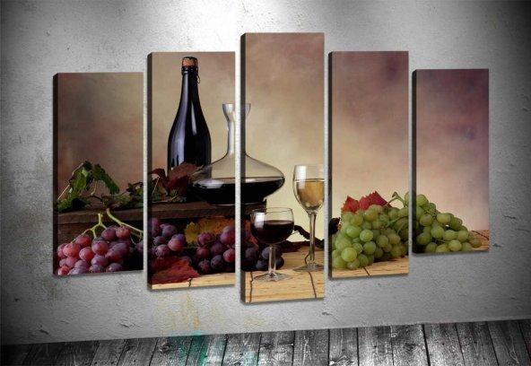 sz942 Şarap ve Üzüm 5 Parçalı Kanvas Tablo