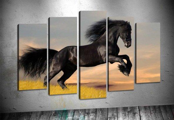 sz1598 Şahlanmış Siyah At 5 Parçalı Kanvas Tablo