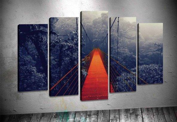 Rpt39 Kırmızı Siyah Asma Köprü 5 Parçalı Kanvas Tablo