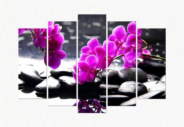 prcdr9950 Mor Orkide 5 Parçalı Kanvas Tablo