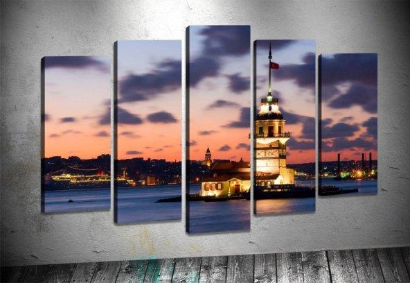 ist33 5 Parçalı Tablo İstanbul Kız Kulesi