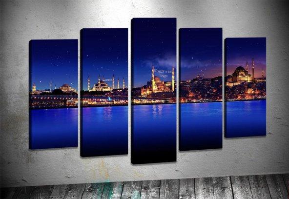 ist31 İstanbul 5 Parçalı Kanvas Tablo