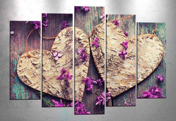 ct273 5 Parçalı Kanvas Tablo Kalpler