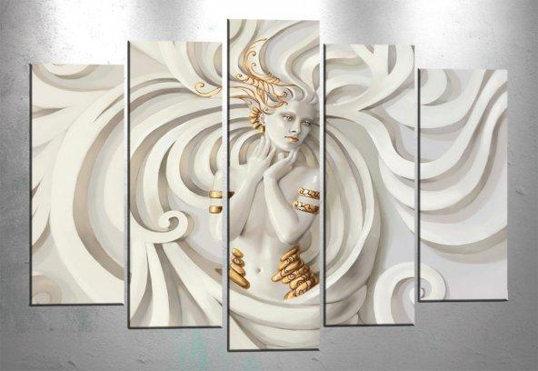 ct231 5 Parçalı Tablo Beyaz Tanrıça