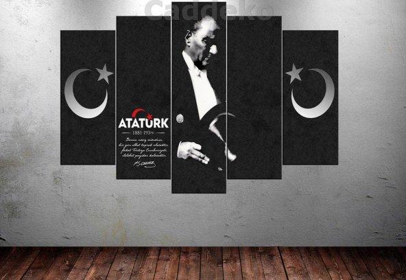 Ata241 Atatürk Benim Naçiz Vücudum 5 Parça Kanvas Tablo