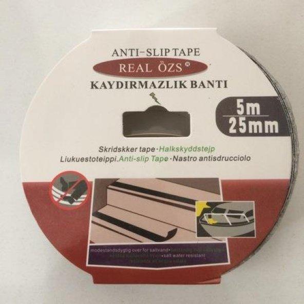 Real 25 mm 5 Metre  Siyah Kaydırmazlık Bandı