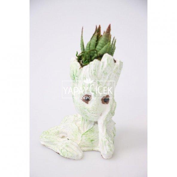 Succulentli Beton Baby Groot Saksı Beyaz