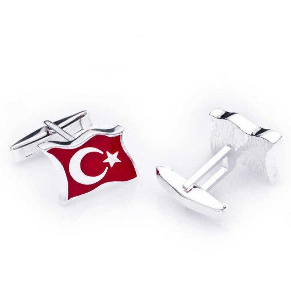 Gümüş Türk Bayrağı Kol Düğmesi