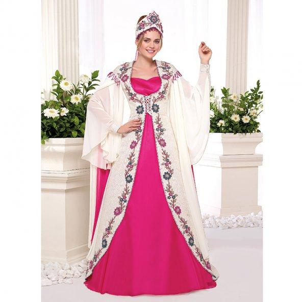 Kanaviçe Boncuk İşleme Şifon Bindallı Elbise