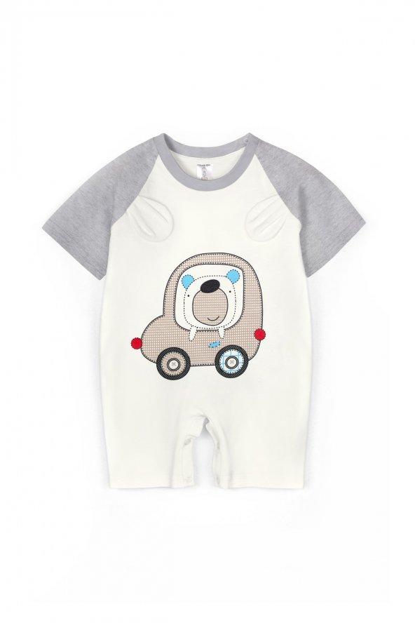 Yazlık Araba Nakışlı Şortlu Bebek Tulum