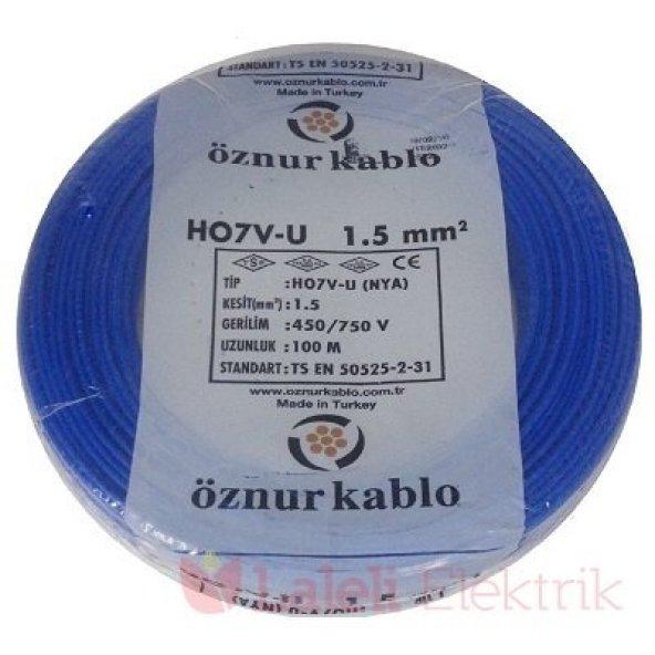 Öznur 1,5 mm NYA Kablo Mavi 100 metre 100 Bakır