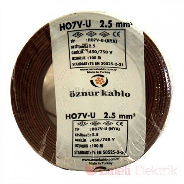 Öznur 2,5 mm NYA Kablo Kahverengi 100 metre  100 Bakır