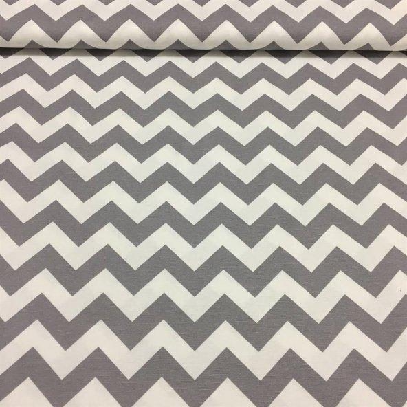 Zeren Home Zigzag Desen Dertsiz Mutfak Masa Örtüsü Gri-Beyaz 150cm x 220cm