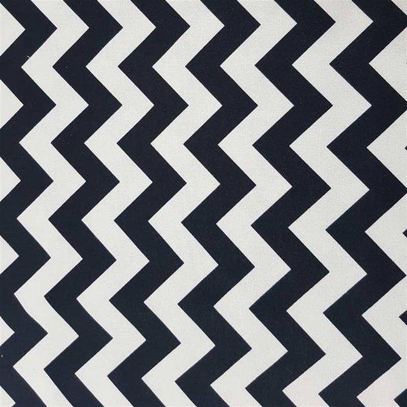 Zeren Home Zigzag Desen Dertsiz Mutfak Masa Örtüsü Siyah-Beyaz 130cm x 160cm