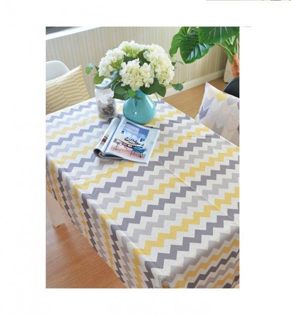 Zeren Home Zigzag Desen Dertsiz Mutfak Masa Örtüsü  100cm x 140cm