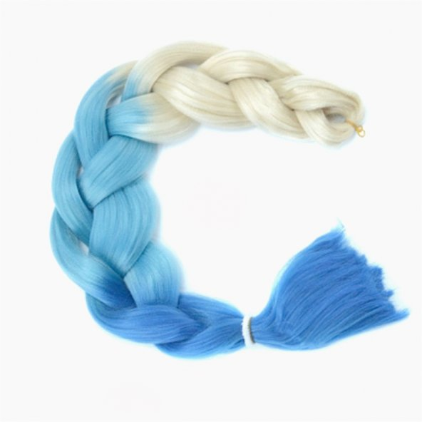Sentetik Örgülük Saç Platin Mavisi Mavi