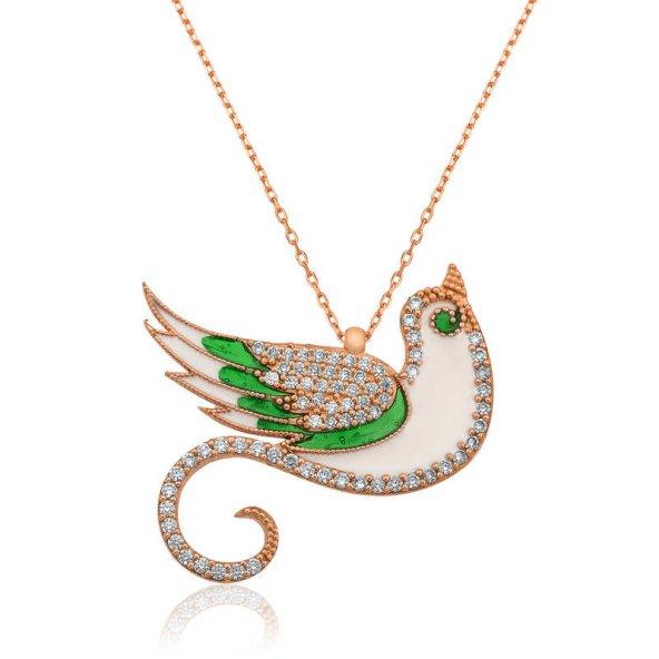 Armaganodan Gümüş Zümrüdü Anka Kuşu Bayan Kolye