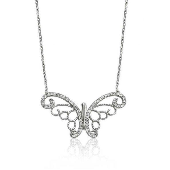 Armaganodan Gümüş Kelebek Bayan Kolye