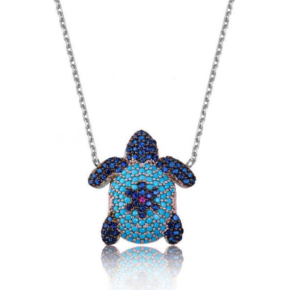 Armaganodan Gümüş Mavi Kaplumbağa Bayan Kolye