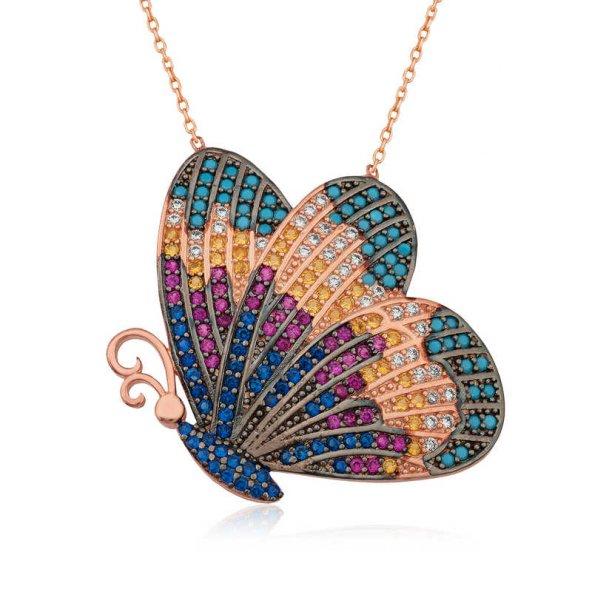 Armaganodan Gümüş Renkli Kelebek Kolye