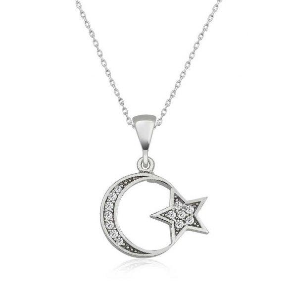Armaganodan Gümüş Ay Yıldız Bayan Kolye