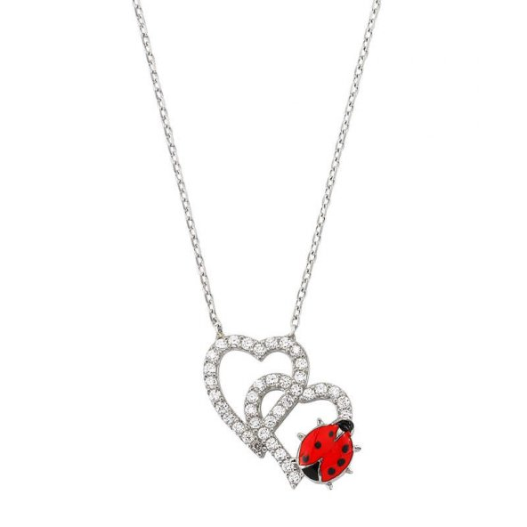 Armaganodan Gümüş Uğur Böcekli İkili Kalp Bayan Kolye