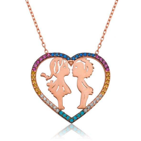 Armaganodan Gümüş İki Aşık Kalpli Bayan Kolye