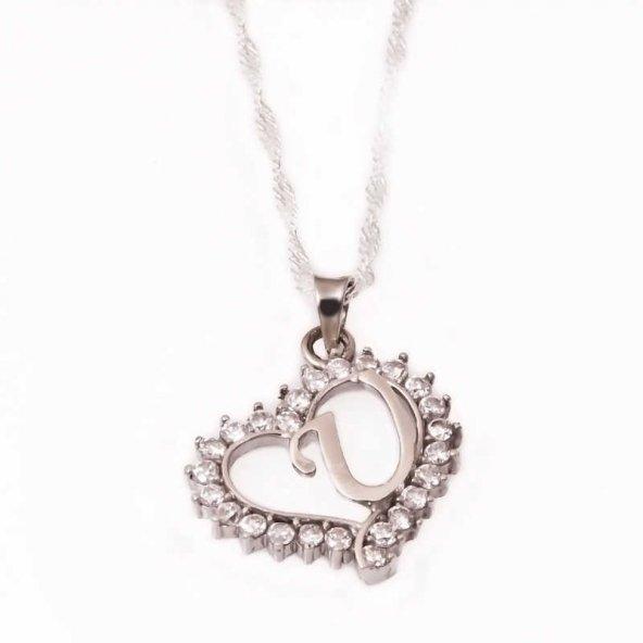 Armaganodan Gümüş U Harfi Kalpli Bayan Kolye