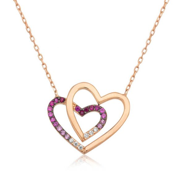 Armaganodan Gümüş İki Kalp Bayan Kolye